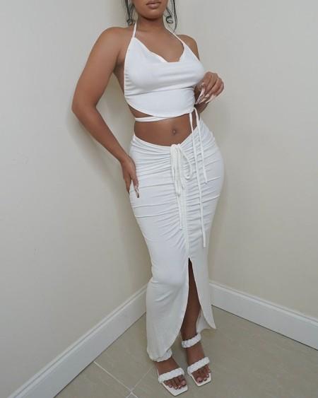 Halter Backless Crop Top & Ruched Slit Skirt Set