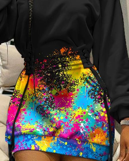 Ink Splash Print Off Shoulder Eyelet Lace Up Casual Dress