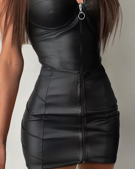 PU Leather Plunge Contrast Lace Zipper Up Bodycon Dress