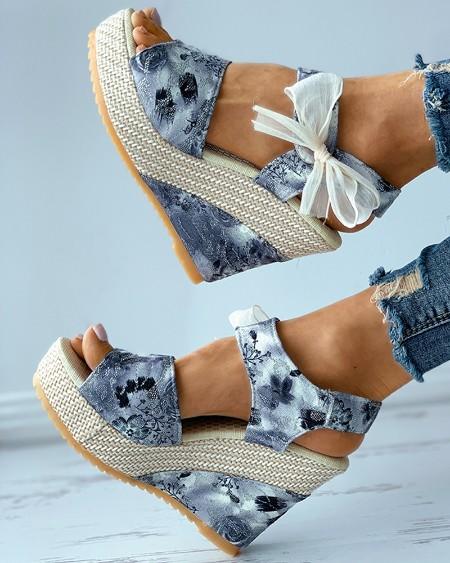Floral Pattern Print Bowknot Decor Espadrille Wedge Sandals