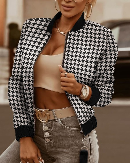 Houndstooth Print Colorblock Long Sleeve Zipper Up Puffer Jacket