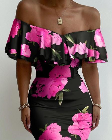 Floral Print Off Shoulder Ruffles Skinny Dress