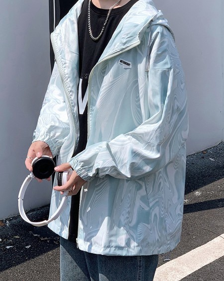 Male Solid Color Splicing Label Print Long Sleeve Hip-hop Sun Protection Jacket