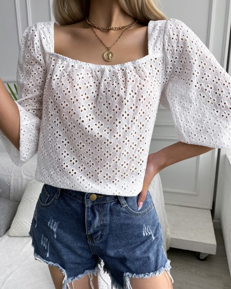 Eyelet Embroidery Puff Sleeve Tied Back Top