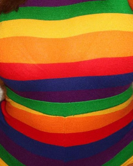 Plus Size Rainbow Striped Long Sleeve Bodysuit
