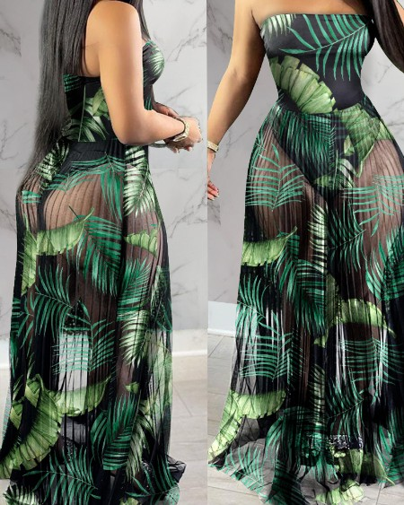 Floral Print Off Shoulder See-through Sheer Mesh Maxi Dress