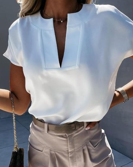 Plain V-Cut Short Sleeve T-shirt
