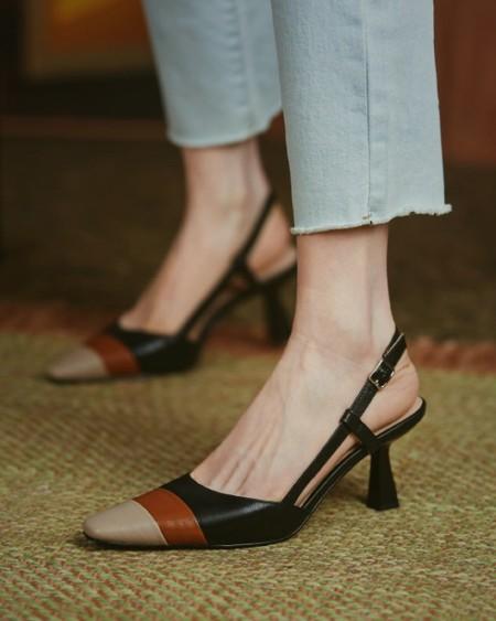 Colorblock Sling Back High Heel Pointed-toe Sandals