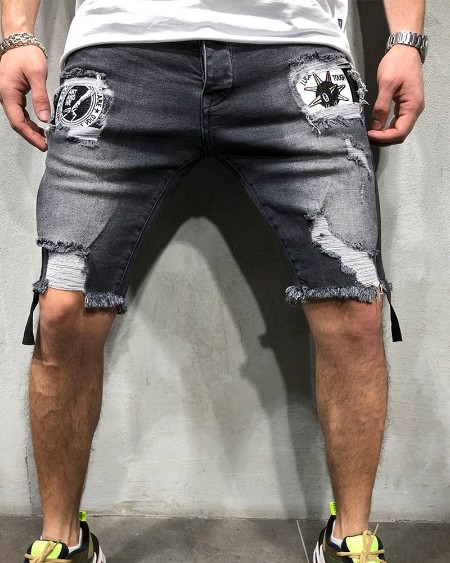 Solid Color Washing Splicing Cartoon Logo Print Ripped Short Jeans
