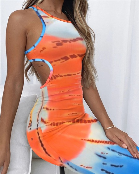 Tie Dyed Hollow-out Backless Buttock Wrapped Sleeveless Midi Dress