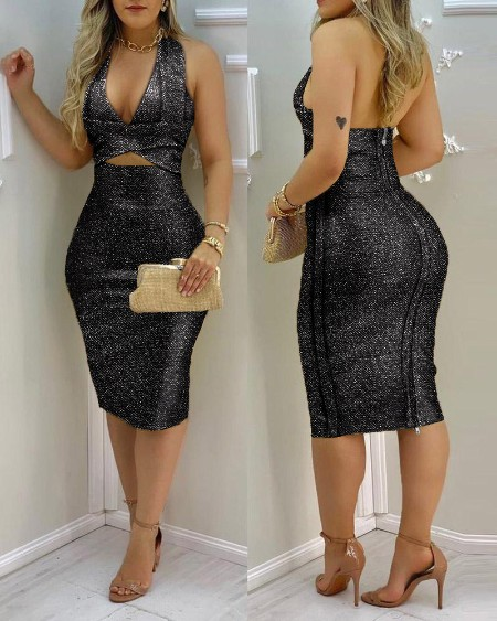 Glitter Halter Cutout Backless Midi Women Dress