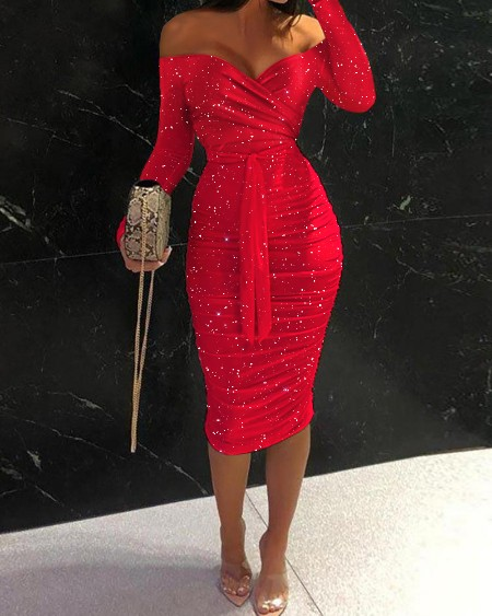 Glitter Off Shoulder Tie Front Ruched Bodycon Dress
