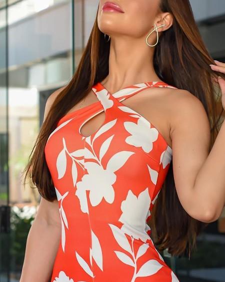 Thick Strap Floral Print Slit Bodycon Dress