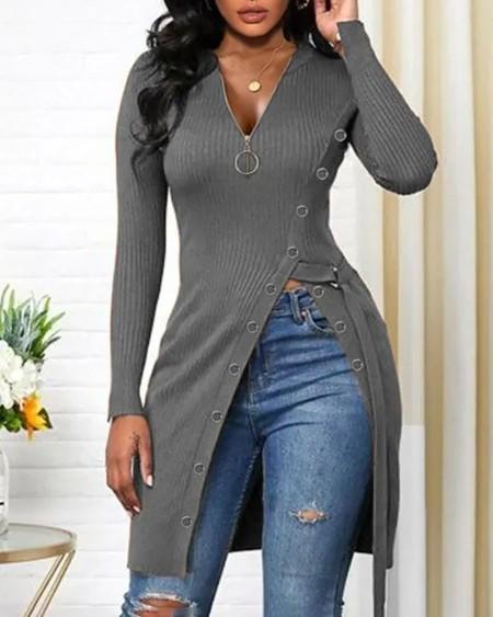Long Sleeve Zipper Design High Slit Top