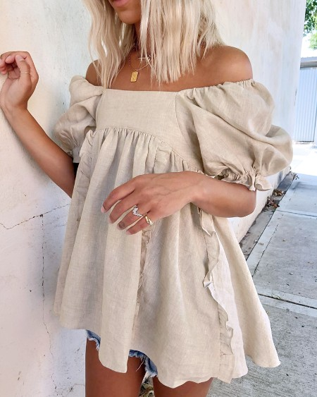 Puff Sleeve Backless Frill Hem Ruched Top