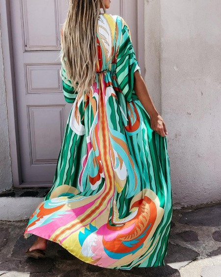 Striped Graphic Print Tied Detail Maxi Dress
