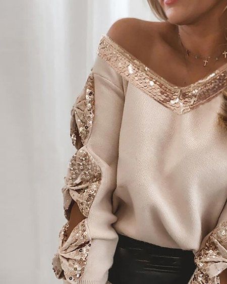 Contrast Sequins Bowknot Design Cutout Sweater