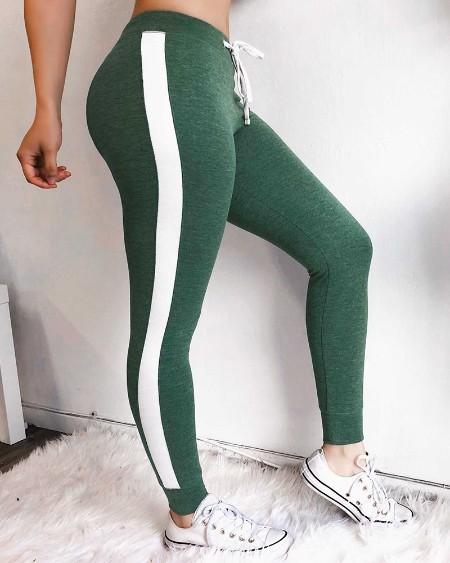 Colorblock Side Stripes Sporty Pants