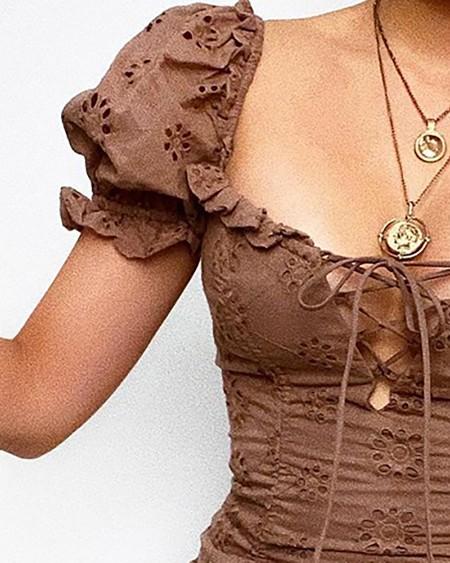 Eyelet Embroidery Drawstring Ruched Puff Sleeve Dress