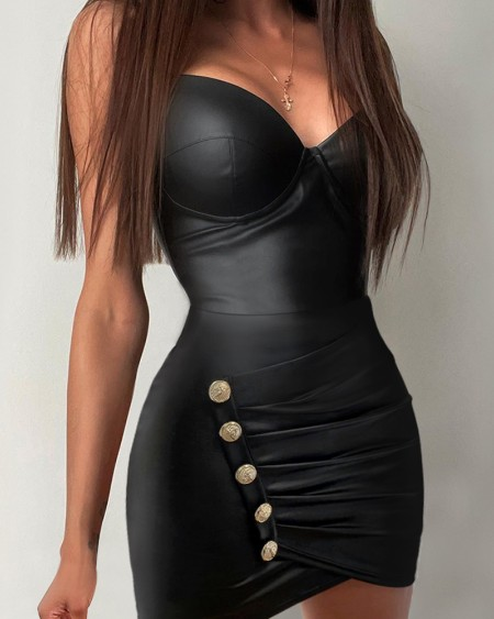Women's PU Leather Plunge Button Detail Sleeveless Skinny Dress