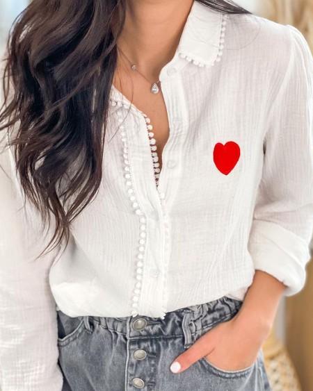 Heart Print Button Front Blouse