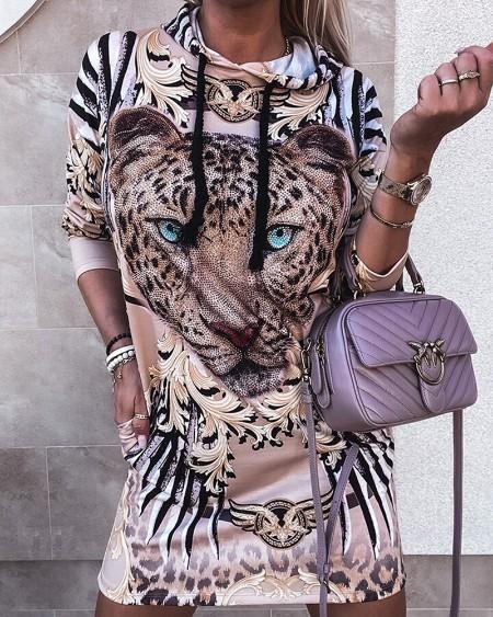 Baroque Leopard Print Sweatshirt Hooded Dress