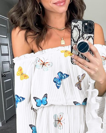 Butterfly Print Off Shoulder Bell Sleeve Frill Hem Dress