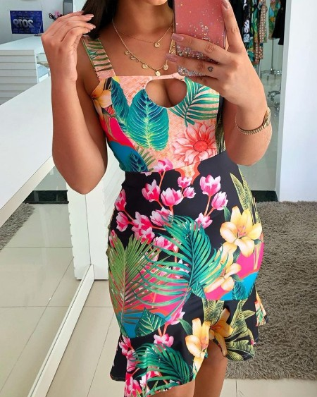 Floral Print Hollow-out Ruffle Hem Straight Dress