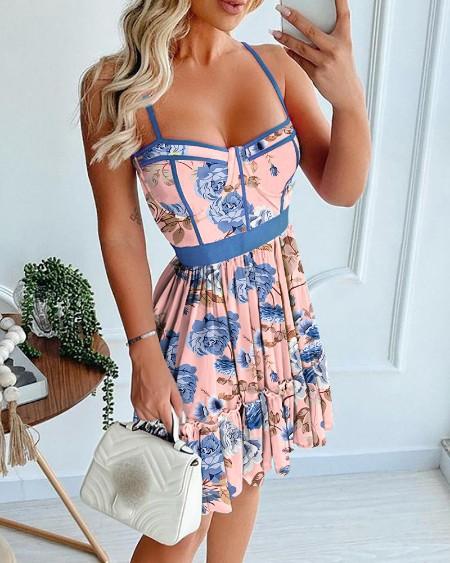 Floral Print Spaghetti Strap Ruffle Dress
