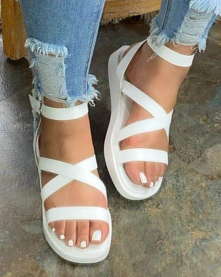 Bandage Ankle Strap Open Toe Flat Sandals