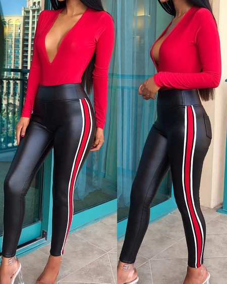 PU Leather Striped Colorblock Pocket Design Pants