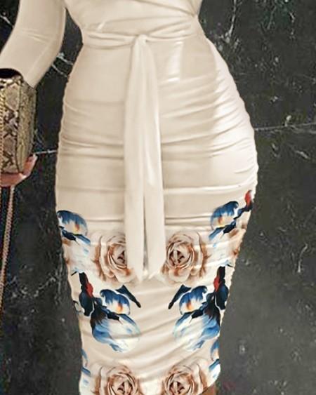 Floral Print Off Shoulder Ruched Belted Bodycon Dress