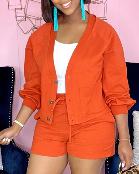 Long Sleeve Buttoned Coat & Pocket Design Drawstring Shorts Set