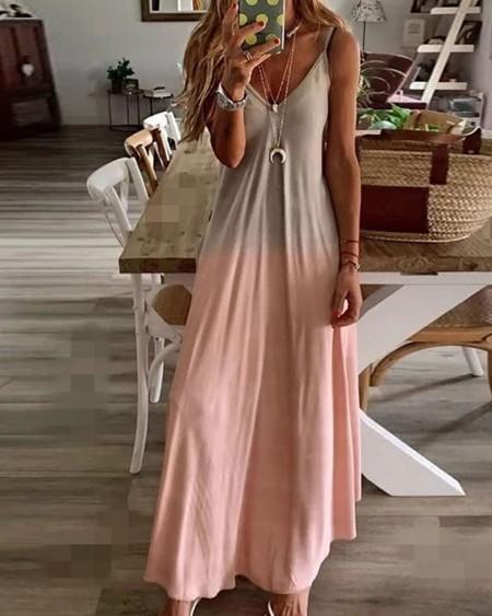 Ombre Colorblock V-Neck Casual Maxi Dress