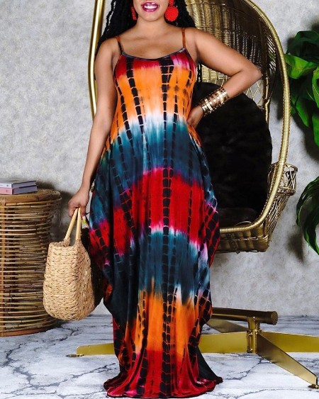Tie Dye Print Spaghetti Strap Maxi Dress