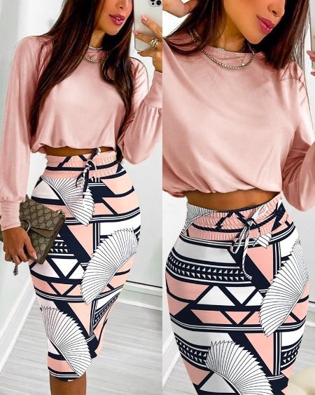 Long Sleeve Top & All Over Print Drawstring Shirred Skirt Set