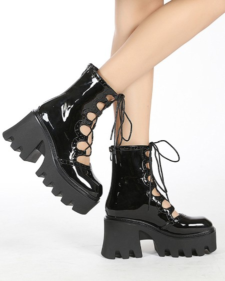 Fashion Womens Square Toe Shiny Finish Hollow-out Platform Boots
