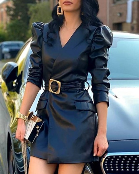 Puffed Sleeve PU Leather Ruched Women Dress