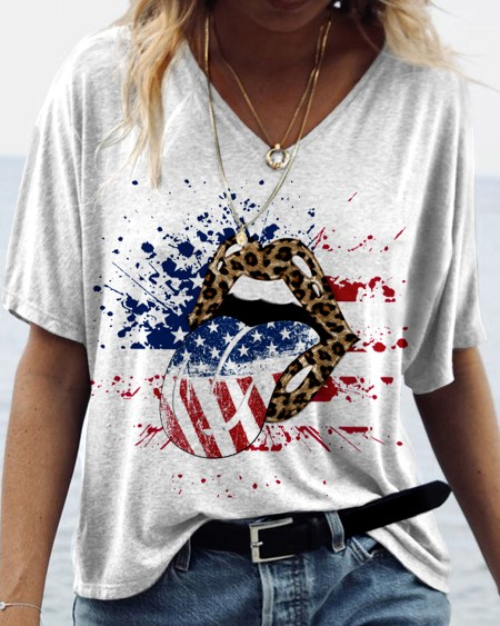 Independence Day Patterns Print Short Sleeve Loose T-shirts
