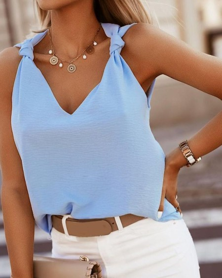 Tied Detail V-Neck Casual Top
