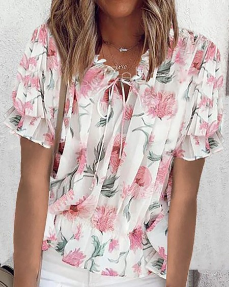 Floral Print Tie Front Pleated T-shirt