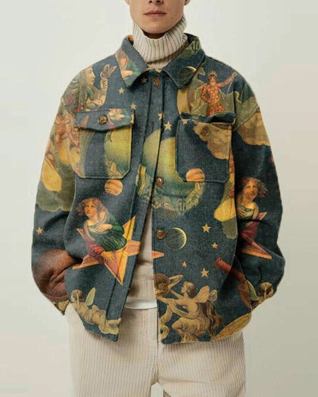 Mens Vintage All Over Print Long Sleeve Pockets Jacket