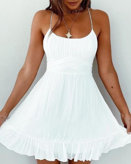Crisscross Backless Tied Detail Frill Hem Dress