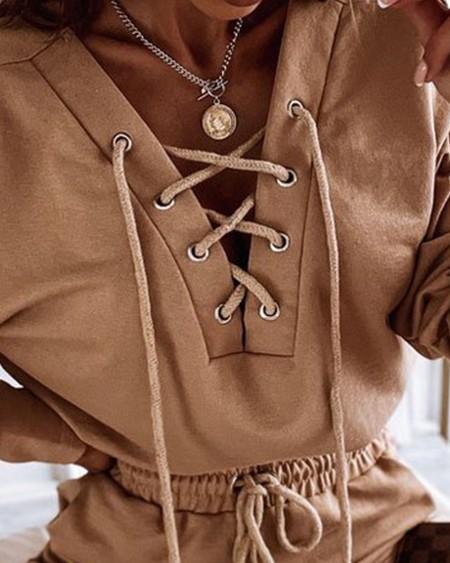 Lace-Up V-Neck Crop Top & Drawstring Shorts Suit Set