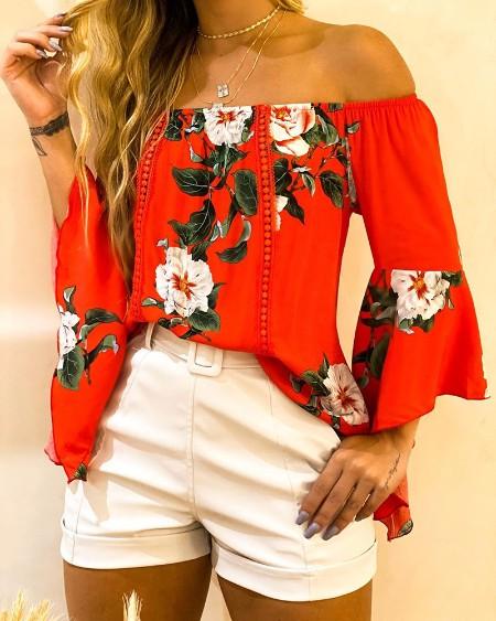 Off Shoulder Floral Print Bell Sleeve Top