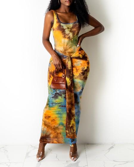 Floral Print Sleeveless Slit Midi Dress