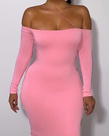Asymmetrical Neck Long Sleeve Skinny Dress