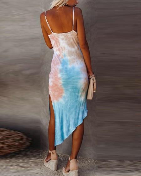 Tie Dye Strap Slip Midi Dress