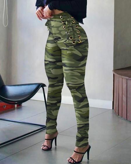 Camouflage Print High Waist Eyelet Lace-up Skinny Pants