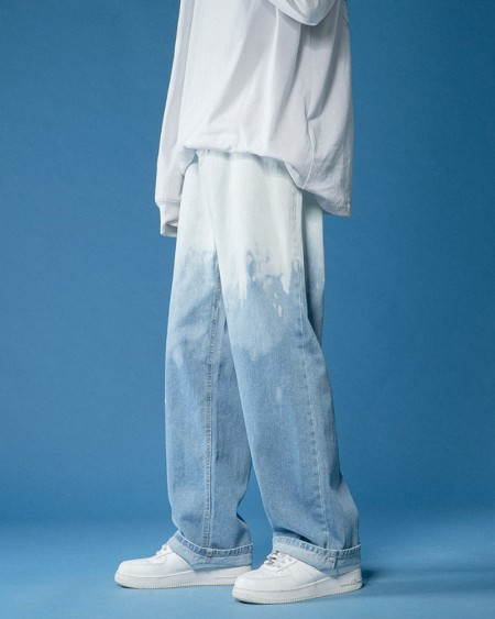 Tie Dye Gradient Long Straight Leg Denim Pants